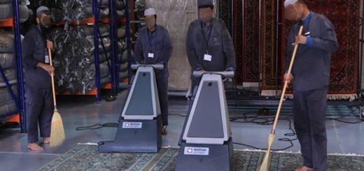 Чистка ковров в мечети